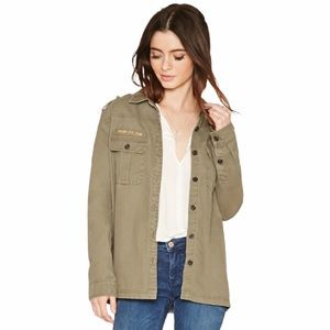 Forever 21 Women's Blue Troop Patch Utility Jacket